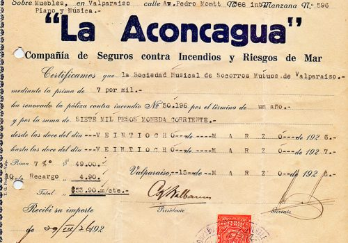 Aseguradora La Aconcagua de la SMSMV, 29 de marzo de 1926