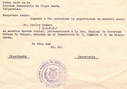 Carta al Cementerio de  Playa Ancha