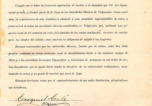 Carta Liga de Sociedades Obreras, fecha 7 de octubre 1908
