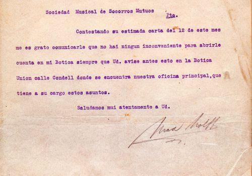 Carta a Botica, fecha 13 marzo 1891