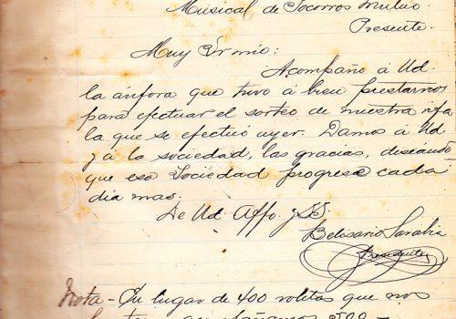 Carta fecha 1 de mayo 1899
