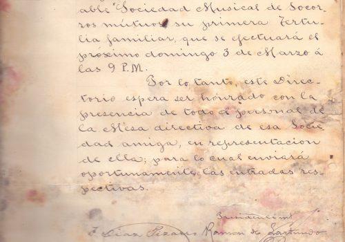 Carta del Centro Social de Obreros de Valparaíso, anunciando Invitación, 24 de febrero de 1895.  Archivada en Libro de cartas de la SMSM de Valparaíso desde 1893 a 1911.