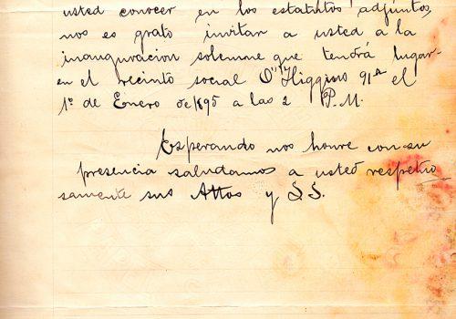 Carta del Centro Social de Obreros de Valparaíso a la SMSM de Valparaíso, 30 de diciembre de 1894. Archivada en Libro de cartas de la SMSM de Valparaíso desde 1893 a 1911.