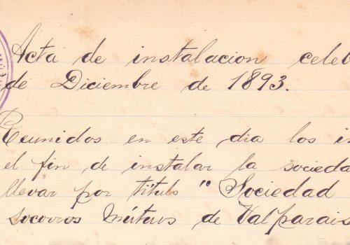 Primera acta-Titulo- 5 dic 1893