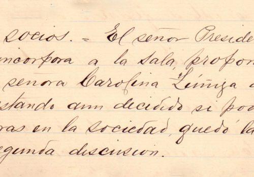 Propuesta de socios para la SMSM de Valparaíso, en la reunión del 16 de febrero de 1894. En su Libro de Actas de Reuniones generales desde la Inauguración de la Sociedad un 5 de diciembre de 1983 hasta el 25 de enero de 1904.