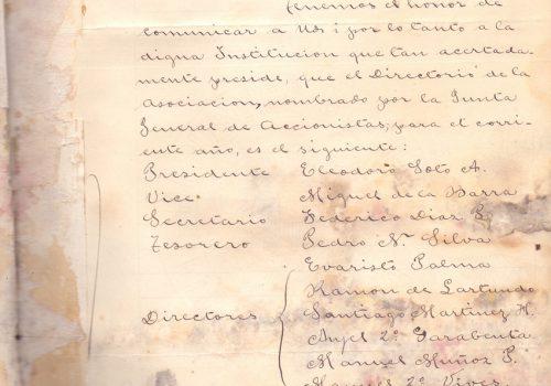 Carta del Centro Social de Obreros de Valparaíso, anunciando Directorio, 24 de febrero de 1895.  Archivada en Libro de cartas de la SMSM de Valparaíso desde 1893 a 1911.