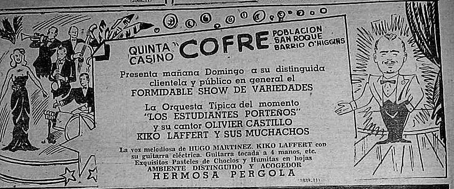 Presentación de Los Estudiantes Porteños en la quinta casino COFRE. La Estrella de Valparaíso, 1954