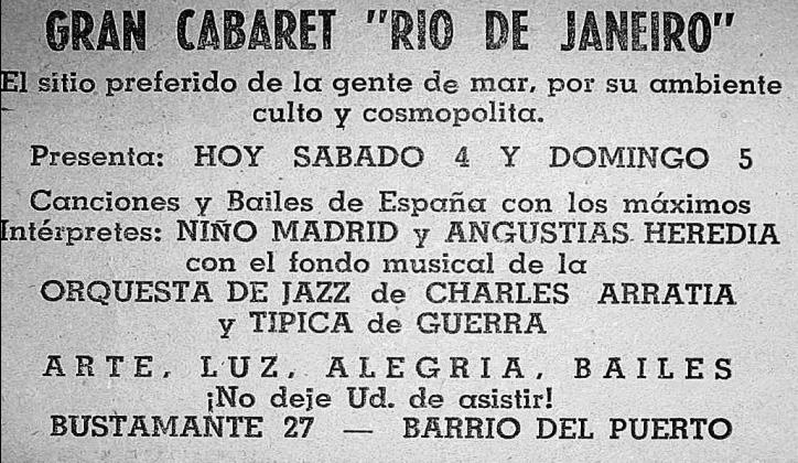 Anuncio de la orquesta típica de Jonathan Guerra junto a las orquestas de jazz en el cabaret Río de Janeiro. La Estrella de Valparaíso, 1958.