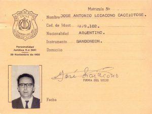 Carnet de José Antonio Loiacono Cacciatore, Sindicato Profesional de Músicos de Valparaíso.