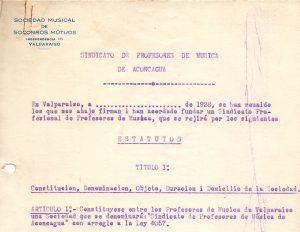 Borrador de Estatutos del Sindicato Profesional de Músicos de Valparaíso, 1928