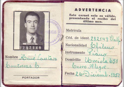 Carnet Profesional del socio René Lautaro Contreras, Sindicato Profesional de Músicos de Valparaíso, 1952.