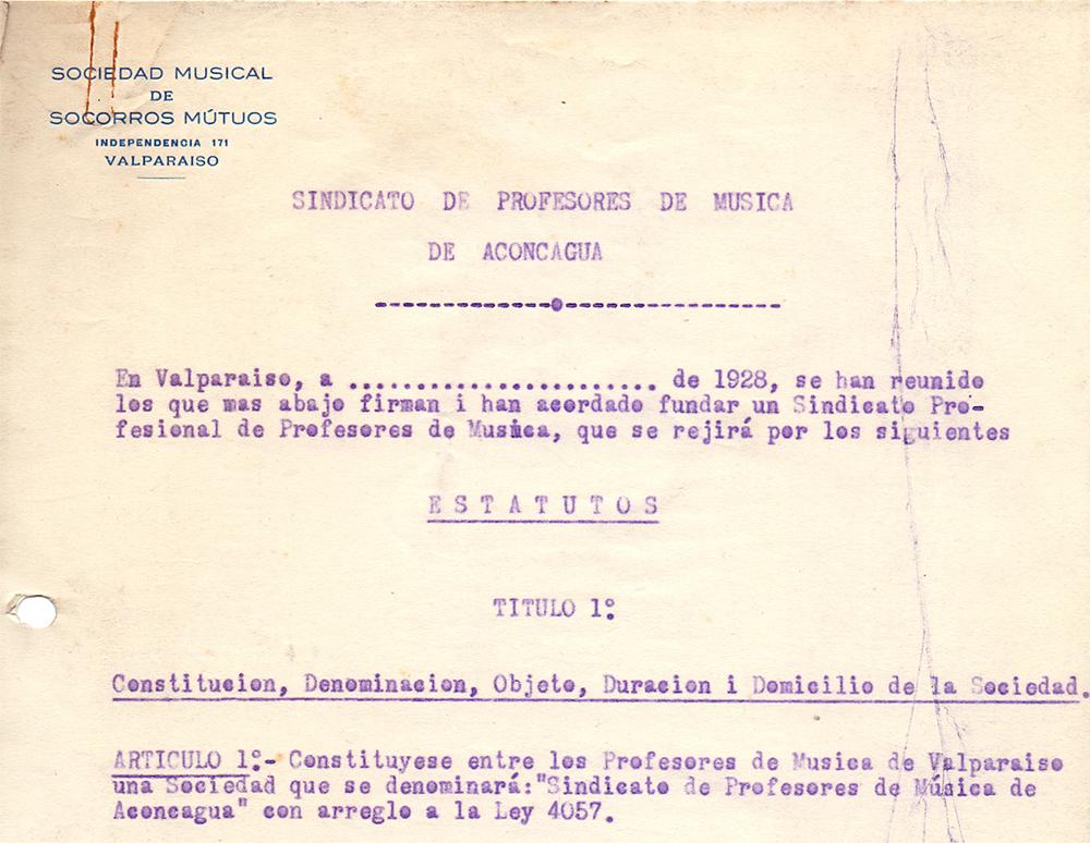 Encabezado borrador de estatutos del Sindicato Profesional de Músicos de Valparaíso