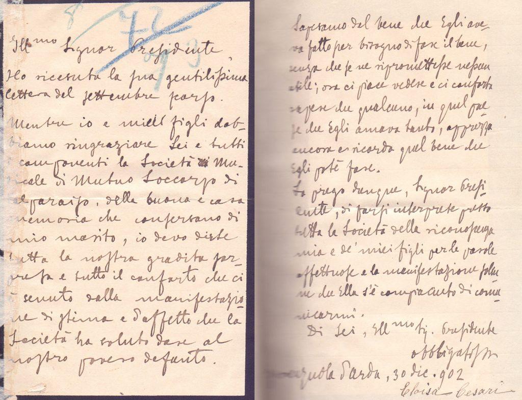 Carta con enviada por la señora Eloisa Cesari, viuda de Pedro Cesari a la Sociedad Musical de Socorros Mutuos de Valparaíso, con fecha 30 de diciembre de 1902. El motivo de la carta es agradecer la carta que esta Sociedad le envío en Septiembre último con manifestaciones de estima y afecto al fallecido Pedro Cesari.