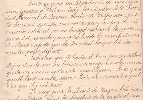 Traducción de carta enviada por Eloisa Cesari a la Sociedad Musical de Socorros  Mutuosd de Valparaiso, 30 de diciembre 1902