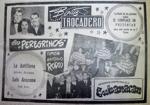 Boite Trocadero. 15 de Abril de 1954. Diario la Estrella de Valparaíso.