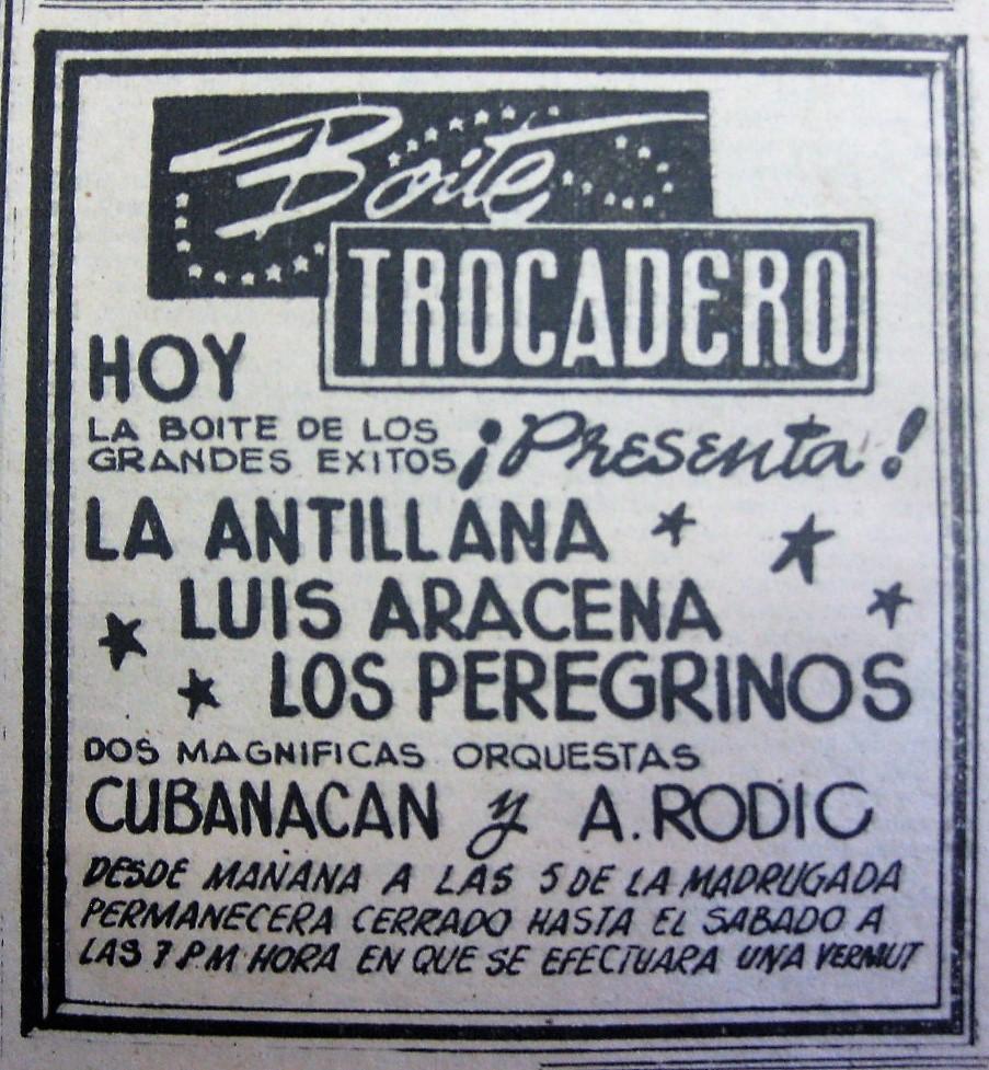 Boite Trocadero. Anuncio en Diario La Estrella, 15 abril 1954.