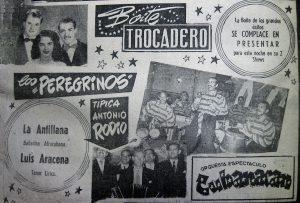 Anuncio de Boite Trocadero en diario La Estrella, 17 abril 1954