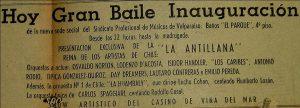 Anuncio de la orquesta de Antonio Rodio, junto a la Orquesta Huambaly, donde Saravia participaba también como pianista. La Estrella de Valparaíso, 1958.