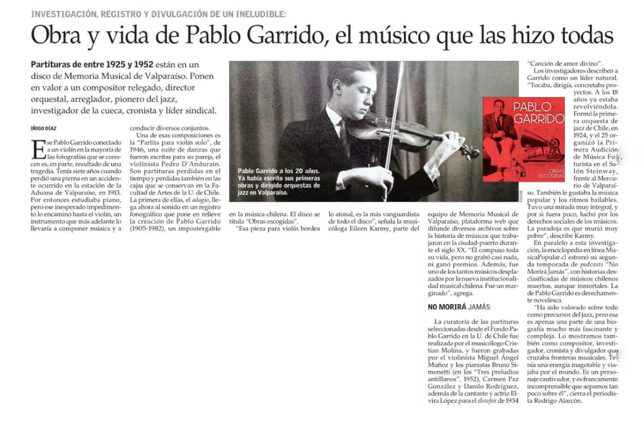Obra y vida de Pablo Garrido, el músico que las hizo todas