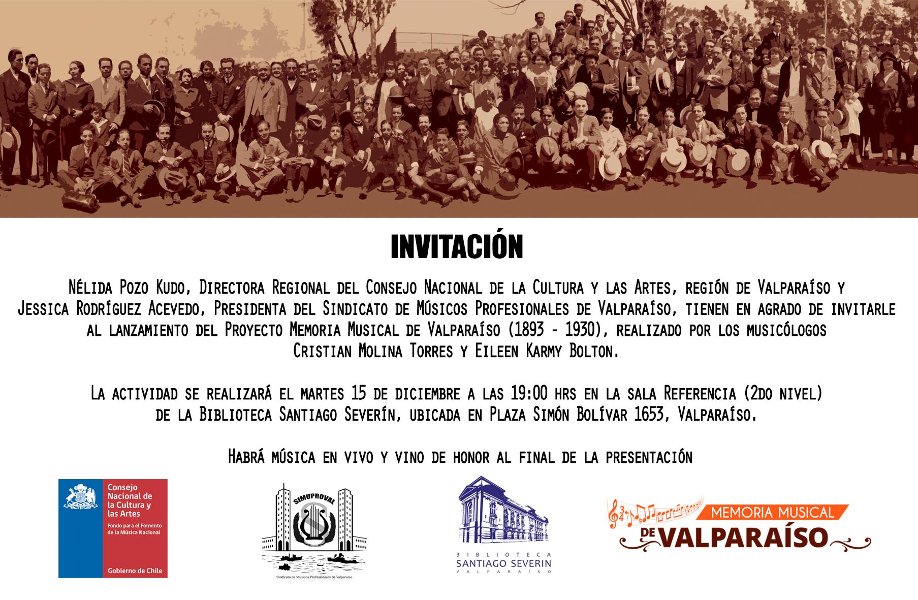 Invitación lanzamiento Memoria Musical de Valparaíso