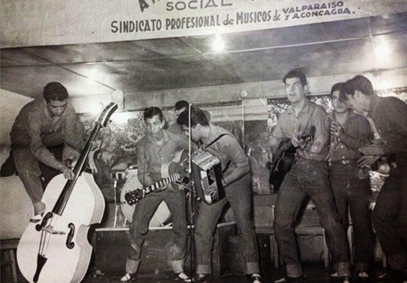 Grupo Rock Time en evento del Sindicato Profesional de Músicos de Valparaíso. 1955 ca.